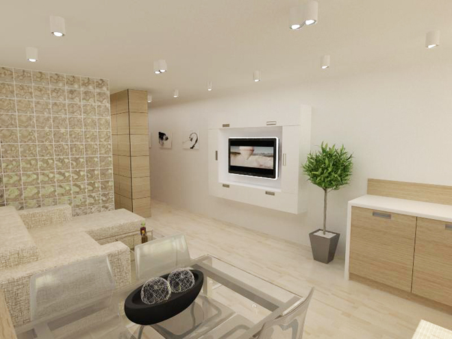 Interior design of an apartment with full size of 51.62 square ...